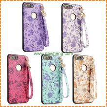 High quality Painted floral skin pu leather soft tpu Wrist band phone case for iphone 7
