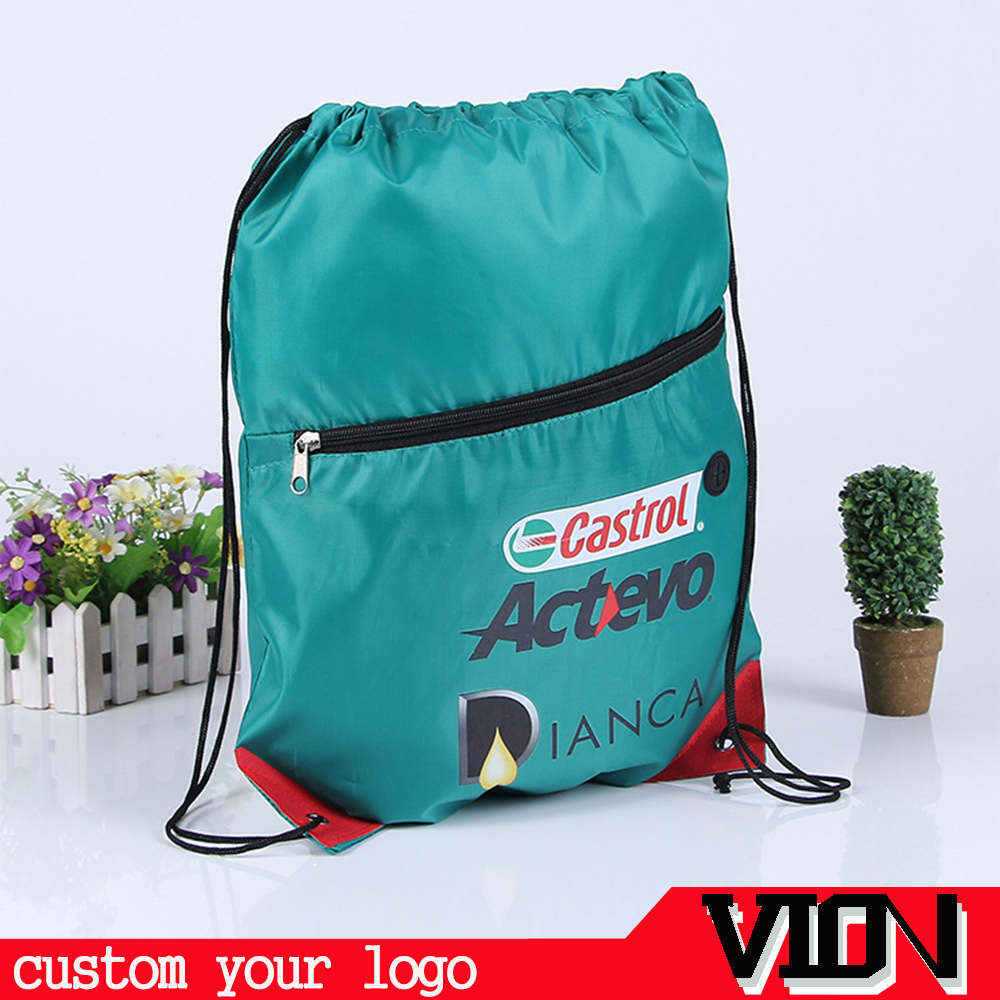 Promotional Durable Custom Polyester Drawstring BackpackWith Zipper