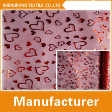 2016 high quality heart printed bronzing organza fabric for decoration