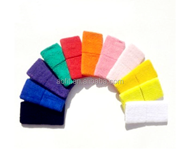 Wholesale Factory Terry cotton custom logo embroidered wrist sweat bands