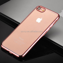 crystal clear transparent electroplating soft tpu gel back cover cell phone case for iphone 7