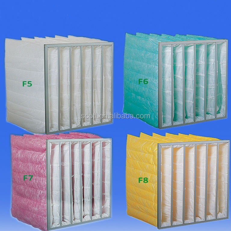 pocket type air filter bag for ventilation systems