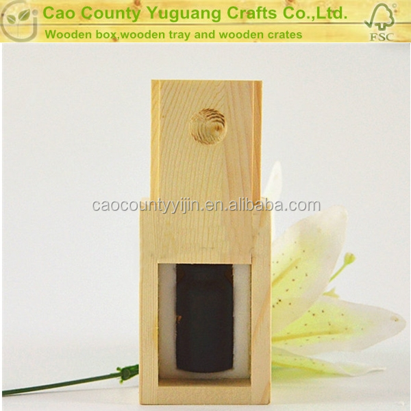 Sliding lid wooden single bottle essential oil gift box
