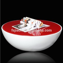 fiberglass bottom with Glass Top Round Bowl Coffee Table