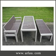 Arlau Outdoor Round Table Wood, Wood Picnic Table And Bench, Solid Wood Malaysian Furniture
