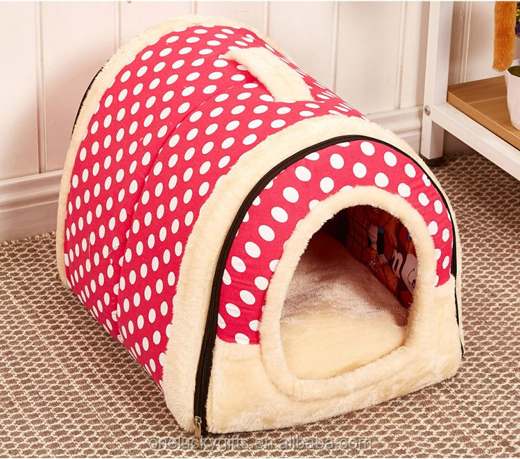 New arrival good quality house soft felt pet bed cartoon Pink warm house