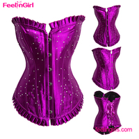High Quality Purple Full Steel Boned New Sexy Big Girl Sexy Corset