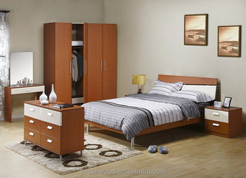 Simple White Melamined Mdf Cheap Wooden Bedroom Furniture