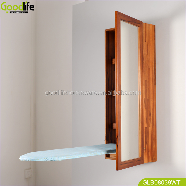 Household wooden ironing board in cabinet for space saving rooms made of teak wood