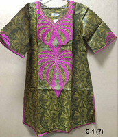 New fashion Bazin African embroidery design women's Clothes party or wedding dresses green kaftan C-1(7)