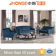 drawing room furniture wooden legs tufted sectional American style blue velvet sofa set