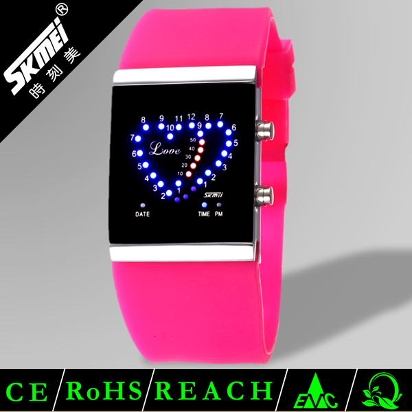 Special design colorful jelly flashing led binary digital wrist watch