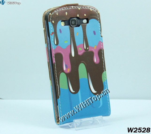 Cute Icecream Printing Back Cover Flip Leather Case for Samsung Galaxy S3 i9300 Unique Design Best Service