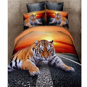 Tiger On The Road Luxury Comforter Set Orange Painted Bedsheet
