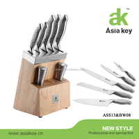 Asiakey stainless steel kitchen knife chef knife set with hollow handle & wood knife stand