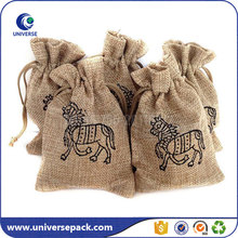 Eco-friendly drawstring jute gunny bags sacks with custom logo