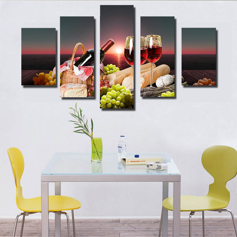 Modern minimalism sells still wine canvas print without frame 5 piece of background wall painting