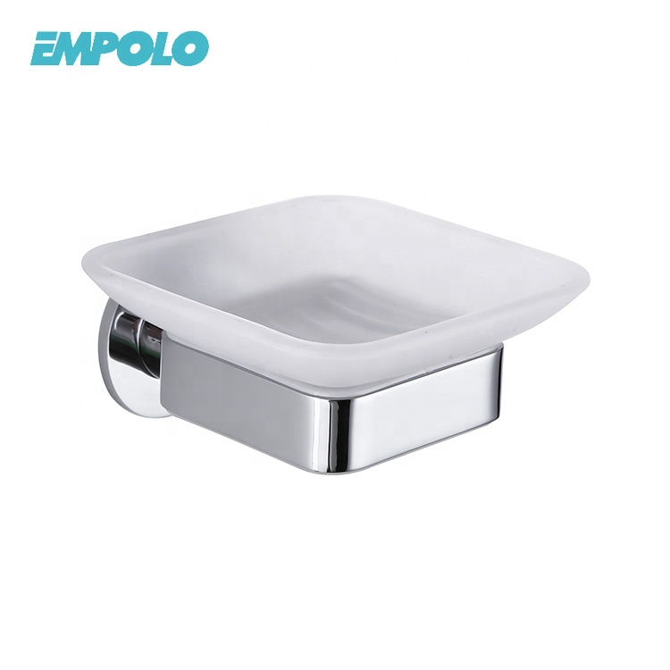 European Style Wall Mounted Silver Bathroom Accessories Chrome Brass Glass Soap Dish Holder