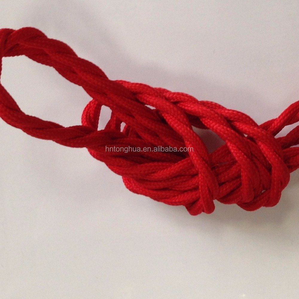 Made in China Red twisted fabric cable textile wire, braided cotton cable cloth covered wire