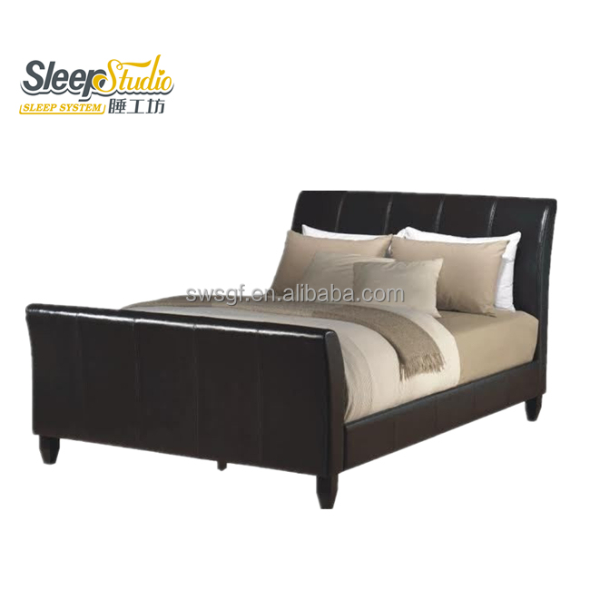 Modern single double PU leather sleigh bed upholstery bed