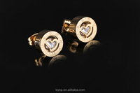 Delicate Hot Popular Unique Zircon Stud Earrings Gold Plated Roman Number Earrings for Women