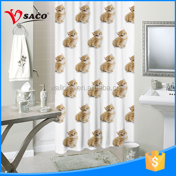 High quality abrasion resistant polyester custom printed shower curtain