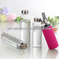 Fashion Heat Resistant Glass Slim Water Bottle