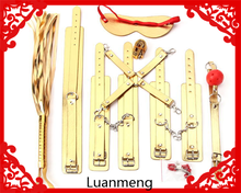 new style male female restraint bondage gold 8pcs leather set with full body sex toy