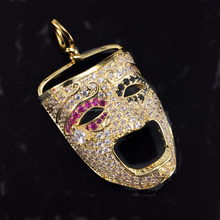 14k gold plated lab made diamond iced out crying face pendant
