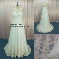 discount bridal gowns Empire strapless tulle Lace informal Wedding Dresses With crystal belt