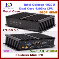 Best price Intel celeron 1037U mini linux embedded pc 1080p with 4G RAM+32G SSD,COM+HD+LAN