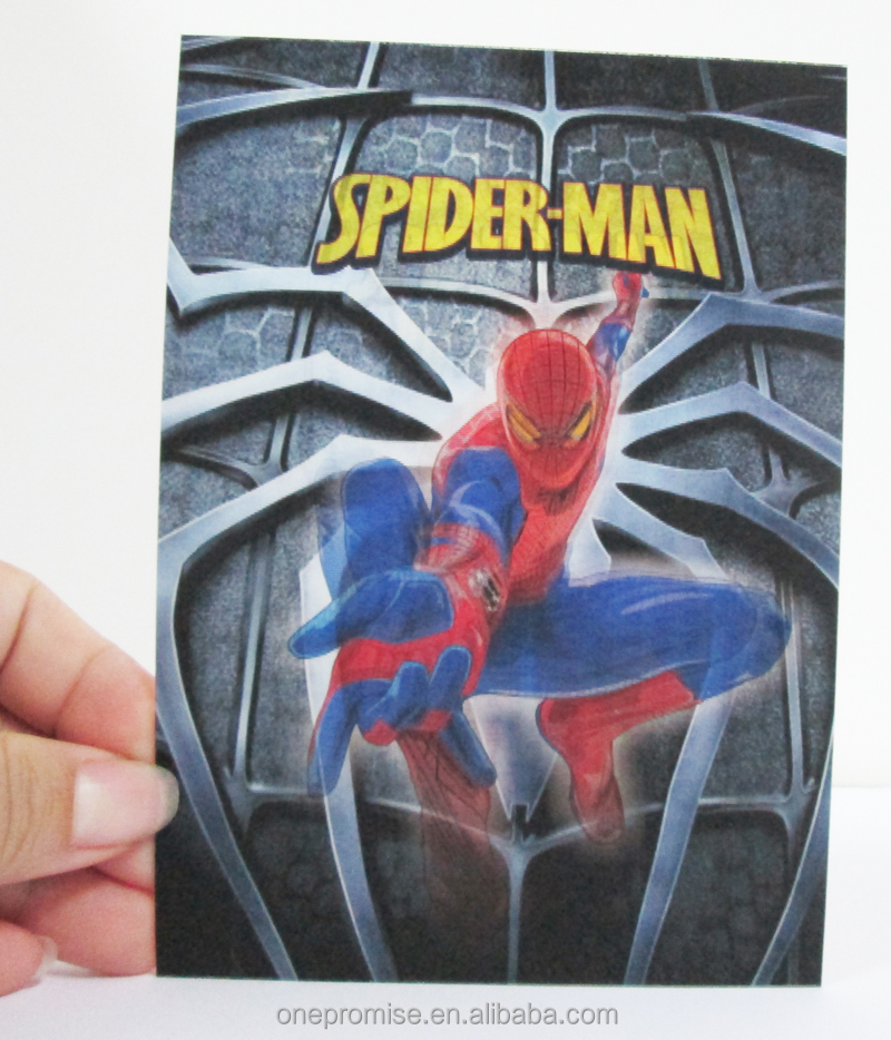 Best selling products in europe 2016 custom3d lenticular spiderman postcard