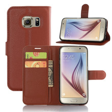 Best Price Top Quality Gorgeous Brown PU Leather Case for Galaxy S7 . Flip Stand Phone Case for Smart Phone