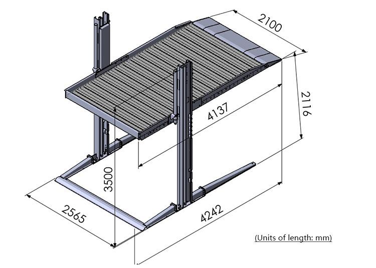 Cylindre hydraulique Deux couches simple 2 poste inclinable ascenseur de stationnement de voiture