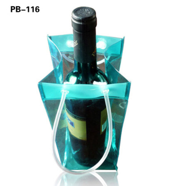 Printed High Quality Recyclable Fluorescence Transparent PVC single Wine Beer Bottle Ice cooler Carrying Bag