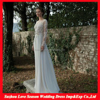 WD5009 On Sale Professional Factory High Quality lace appliqued sweep train backless chiffon long sleeve princess wedding dress
