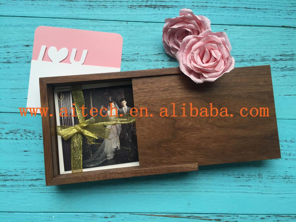 Wooden box includes usb flash drive and photos for wedding gift or photographer with custom logo