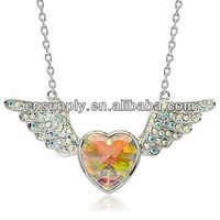 Colored Rhinestone Angel Wing Necklace For Kids