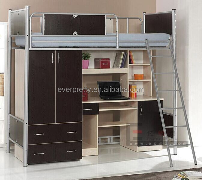 Made in China Latest Indian Wood Double Bunk Bed Designs with Desk and Wardrobe