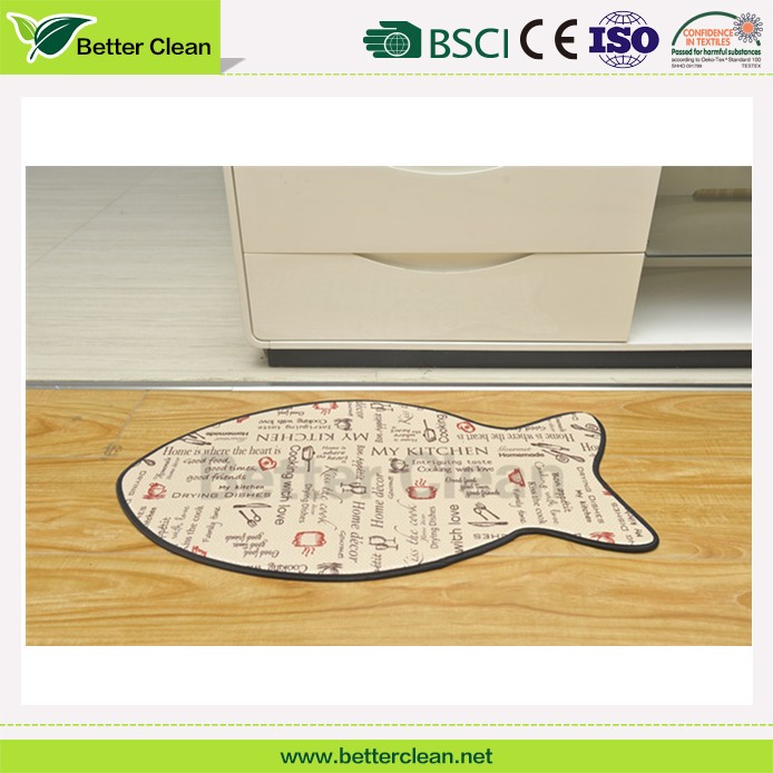 Top sales model household flooring fish shape microfiber cat mat