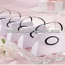 Elegant pink purse design candy paper box for wedding return gifts
