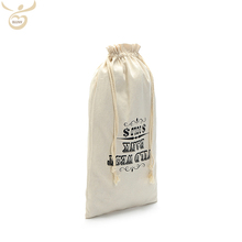 Custom Logo Recycled Wine Bottle Packaging Promotional Pouches Drawstring cotton linen bag