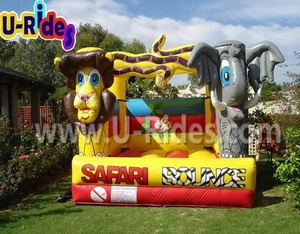 PVC tarpaulin Elephant inflatable castles inflatable jungle jumping bouncer outdoor bouncing castles for kids