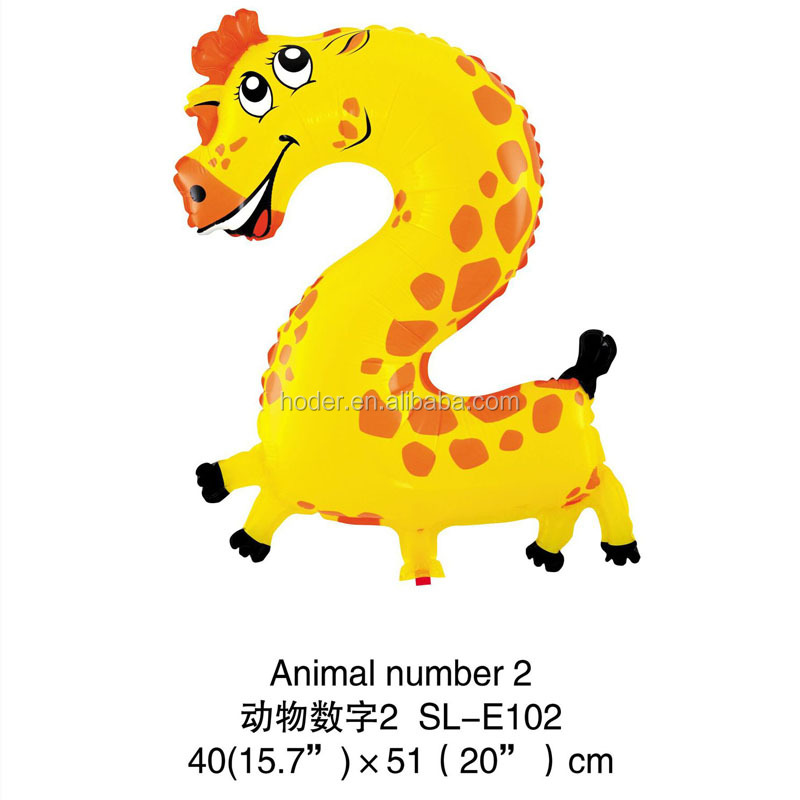 Promotional cheap helium ballons number 2 animal giraffe shape foil balloon for decoration