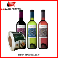 2017 high quality custom wholesale red wine self adhesive vinyl labels