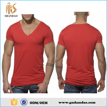 2016 guangzhou shandao plain dyed 180g 65%cotton 35%polyester summer fashion short sleeve V-neck custom man basic t-shirt