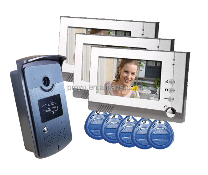 "7"" Color Monitor Touch Key Video Door Phone Doorbell Intercom System with 3 Monitors + RFID keyfobs PY-805MEID13"