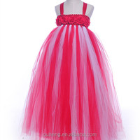Mix Colors Purple White Hot Pink Big Flower Chic Tutu Dress Girl Birthday Pageant Dresses For Wedding Party Photograph Prom