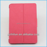 Cute pink stand pu leather tablet case for ipad mini