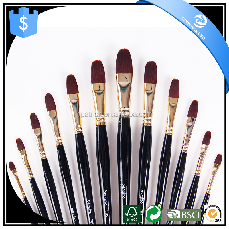 high quality nylon hair artist brush set filbert shape paint brush wholesale